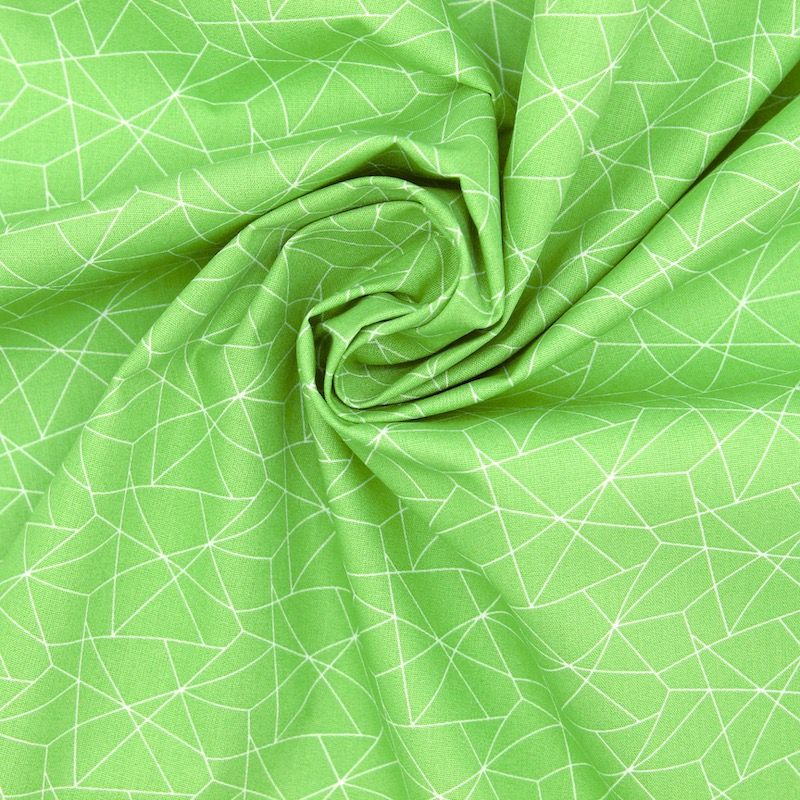 Cotton with geometric print - meadow green