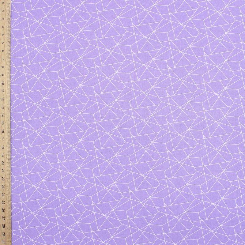 Tissu coton géométrique - parme