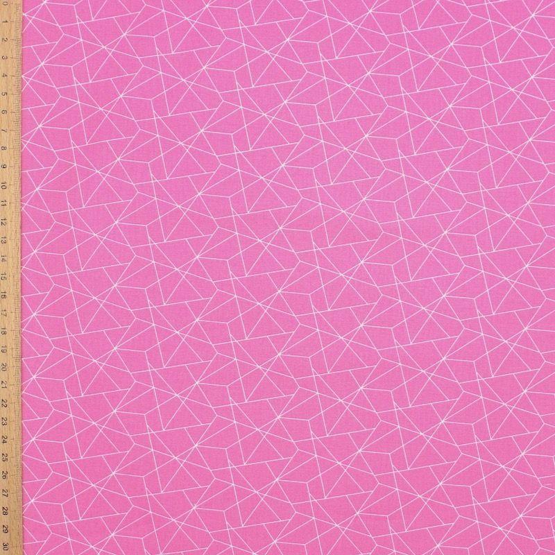 Tissu coton géométrique - rose