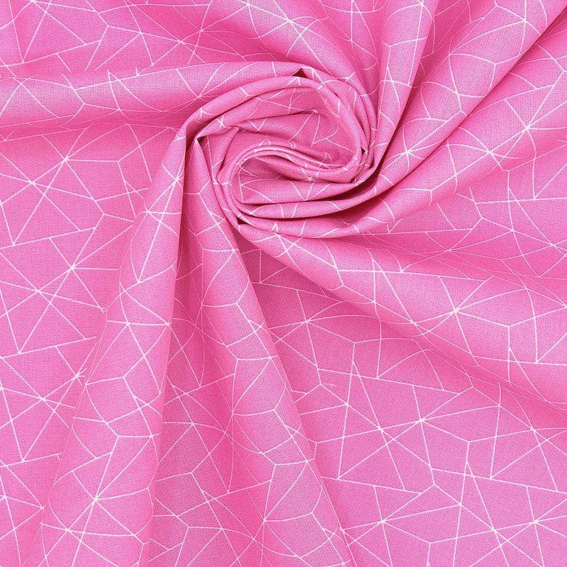 Katoen met geometrische motief - roos