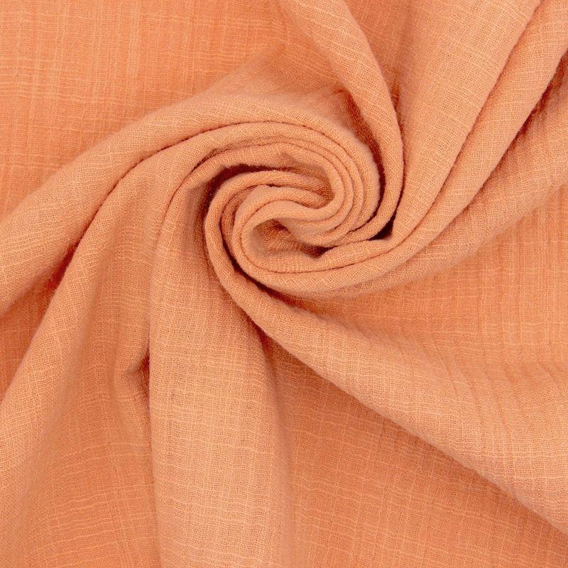 Tissu double gaze effet lin orange