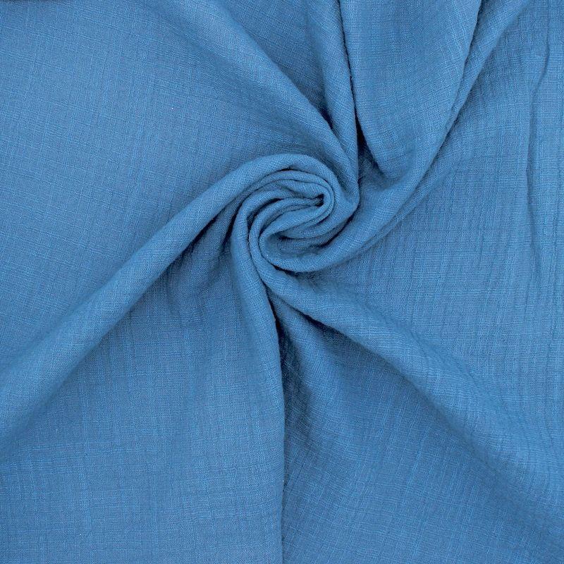 Tissu double gaze effet lin pétrole