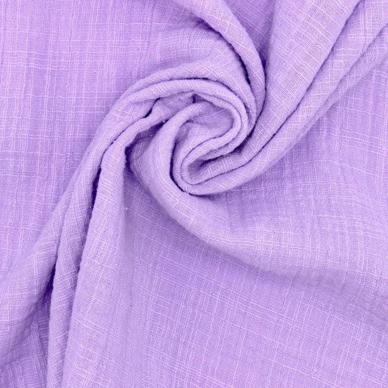 Tissu double gaze effet lin lilas