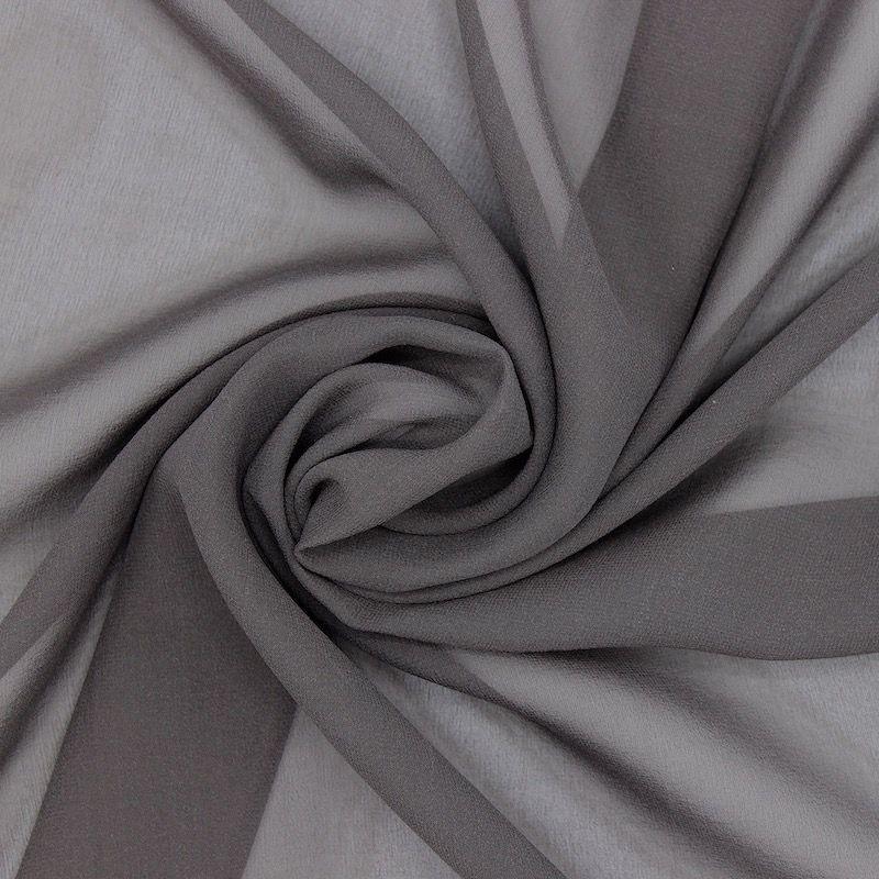 Crêpe veil 100% silk - dark grey