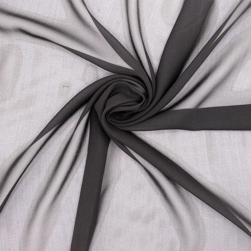 Crêpe veil 100% silk - black