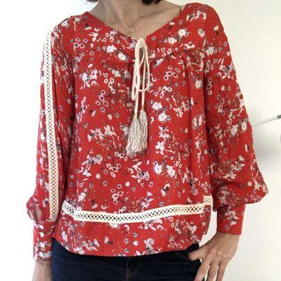 Pattern blouse woman Bardot