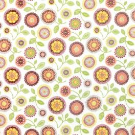 Tissu en coton à fleurs orange, jaunes et vertes sur fond blanc
