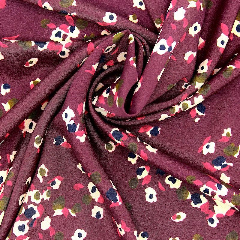 Tissu motif floral - bordeaux