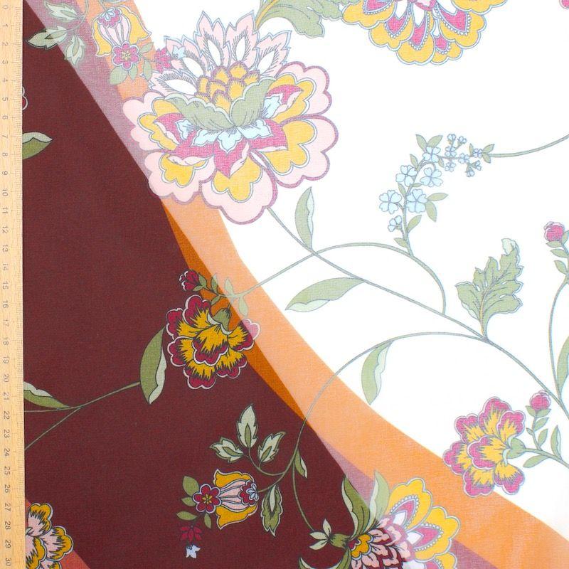 Veil with floral pattern - vanilla / burgondy