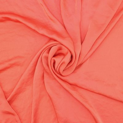 Satin fabric slightly crumpled effect - coral