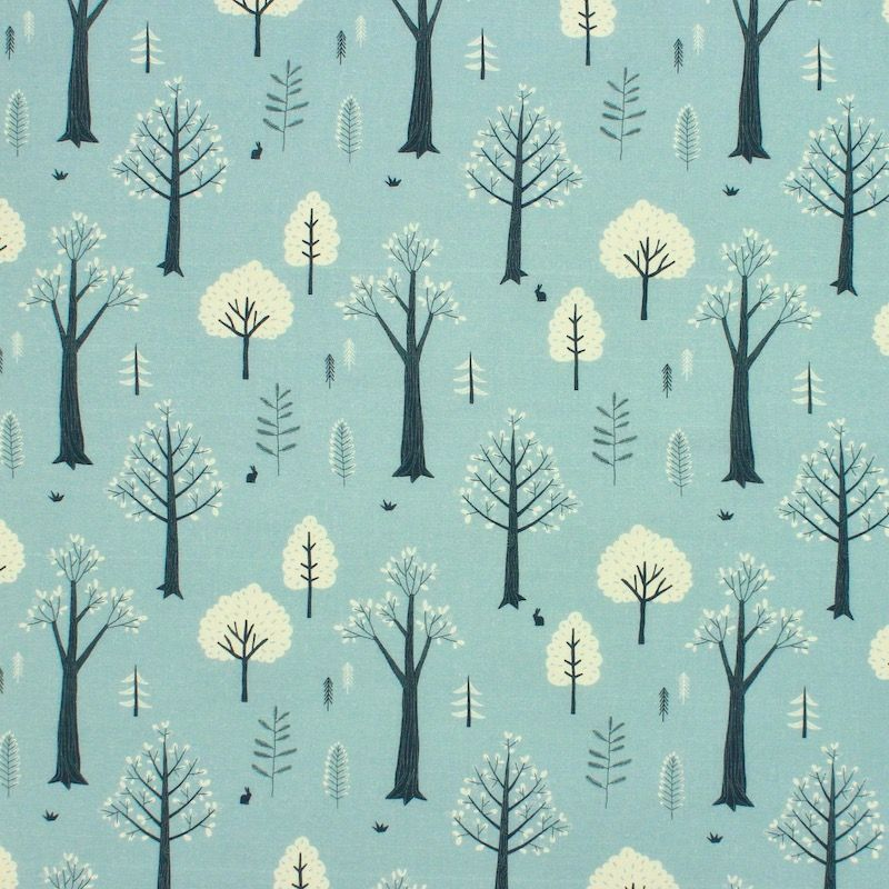Cotton with trees - aqua