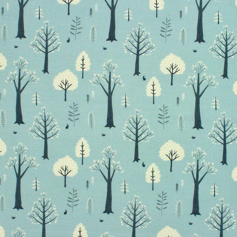 Katoen met bomen - aqua