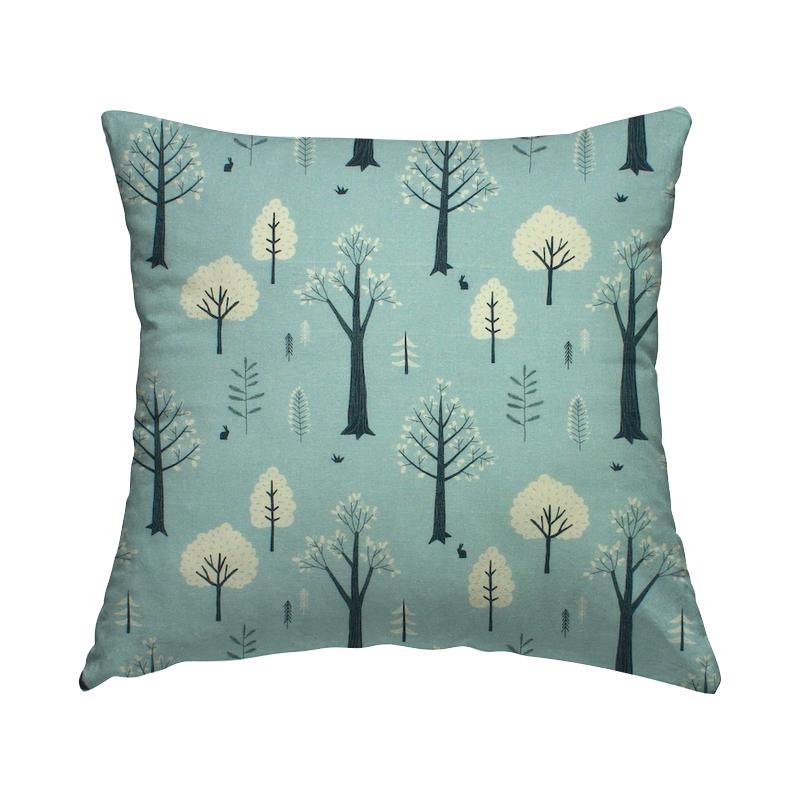 Tissu coton arbres - aqua