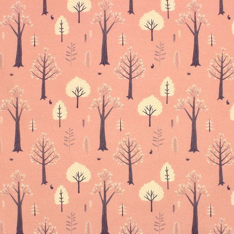 Cotton with trees - pink