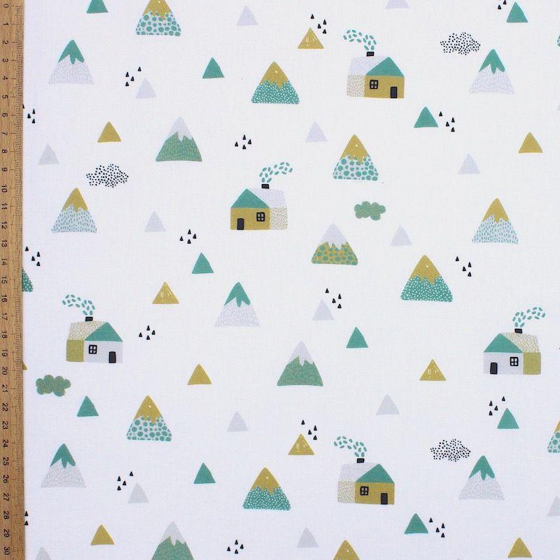 Tissu coton maisons et montagnes - vert