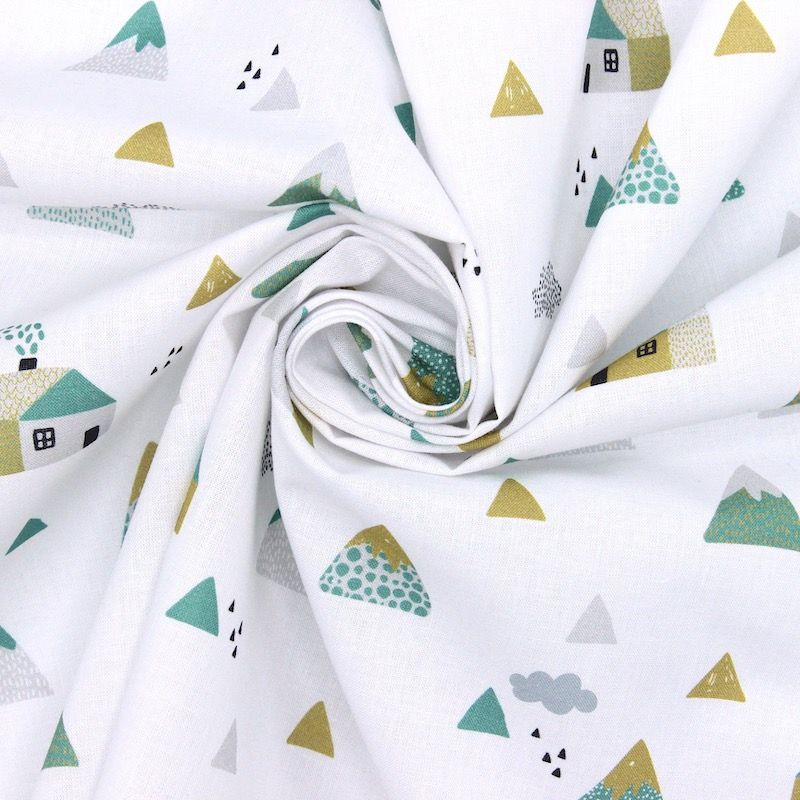 Cotton with houses and mountains - green