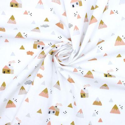 Tissu coton maisons et montagnes - rose