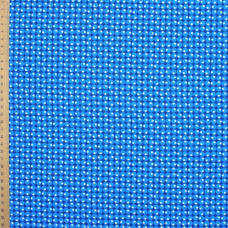 Tissu coton ronds et pois - bleu