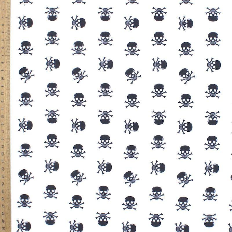 Tissu coton tête de mort noir - blanc