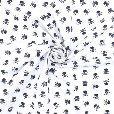 Cotton with skulls - white