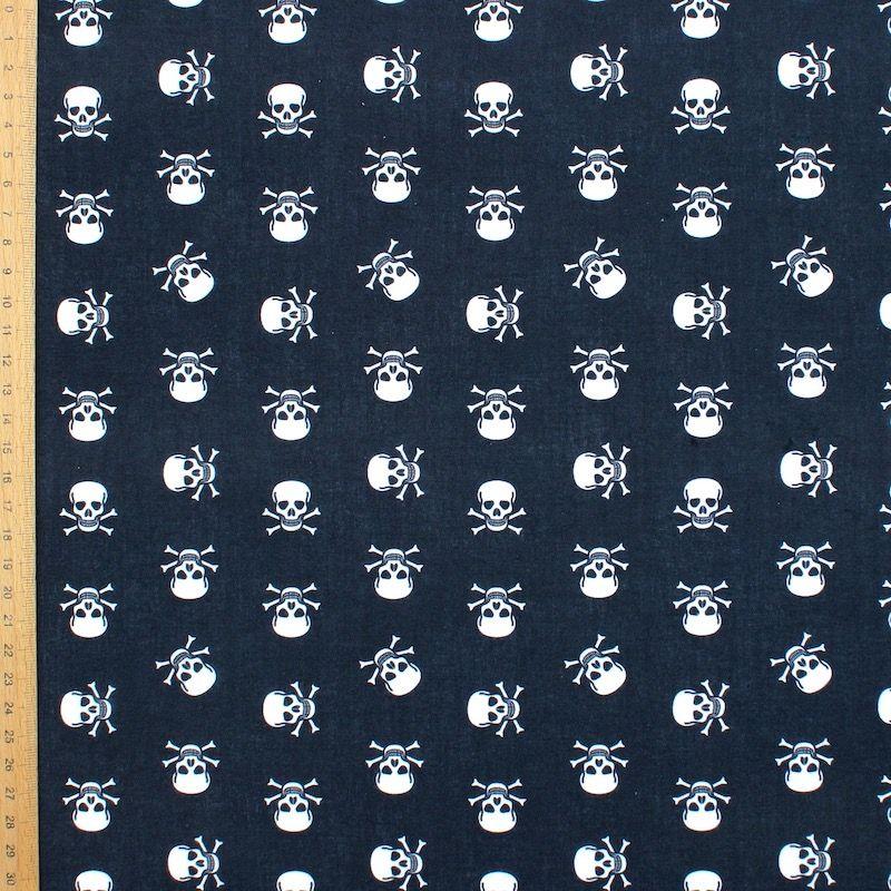 Tissu coton tête de mort blanche - noir