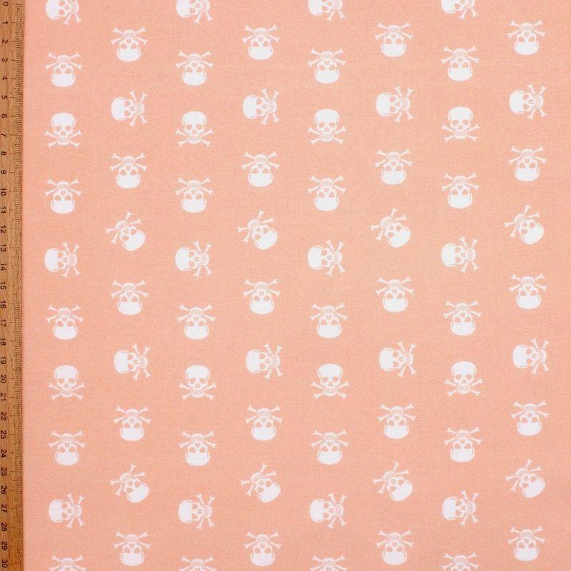 Katoen met witte doodskoppen - roos