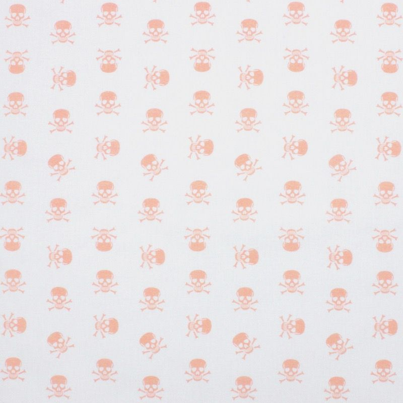Katoen met roze doodskoppen - wit
