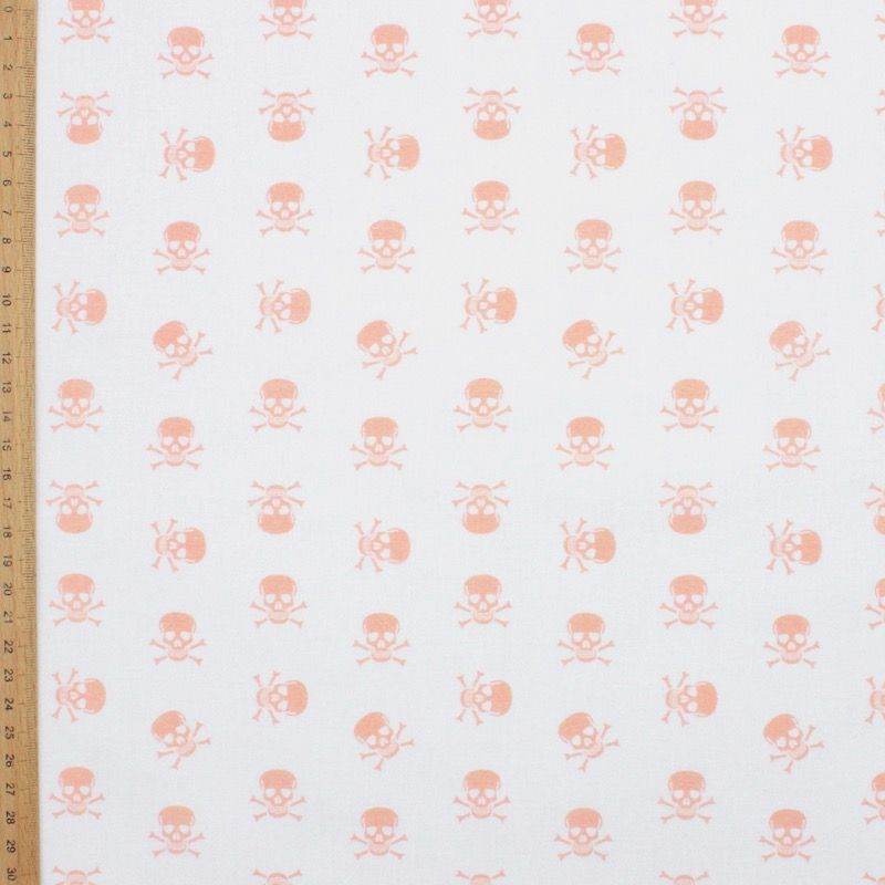 Tissu coton tête de mort rose - blanc