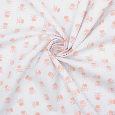 Cotton with pink skulls - white