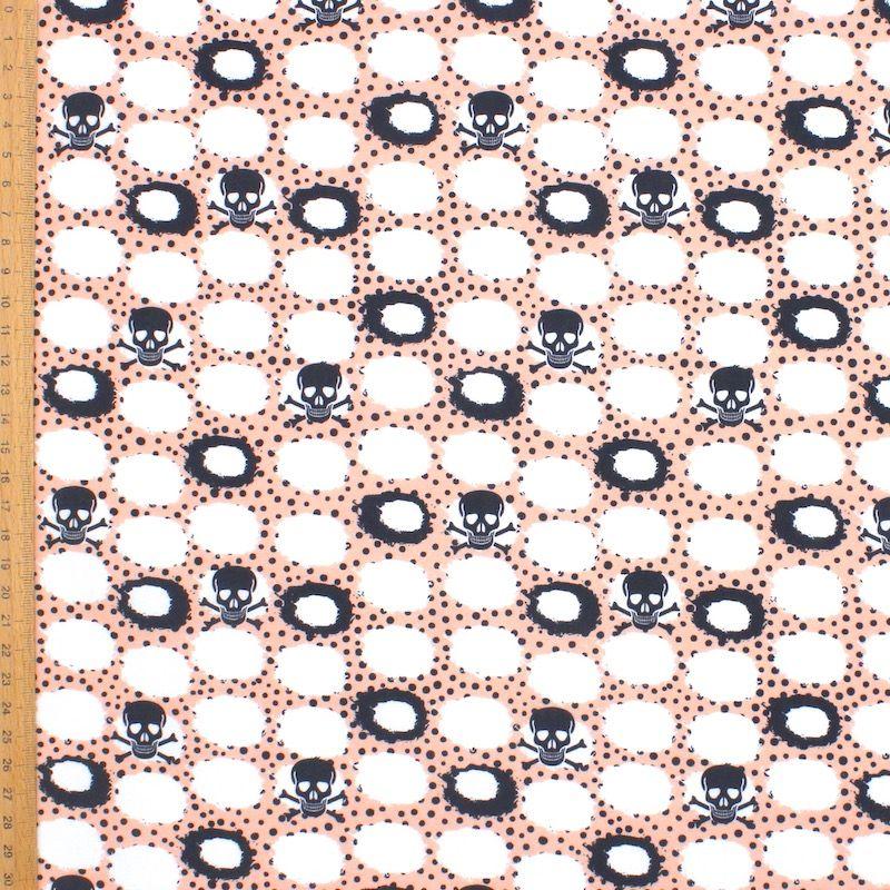 Katoen met zwarte doodskoppen - wit/roos
