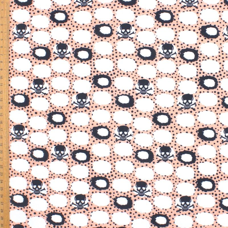 Tissu coton tête de mort noire - blanc/rose
