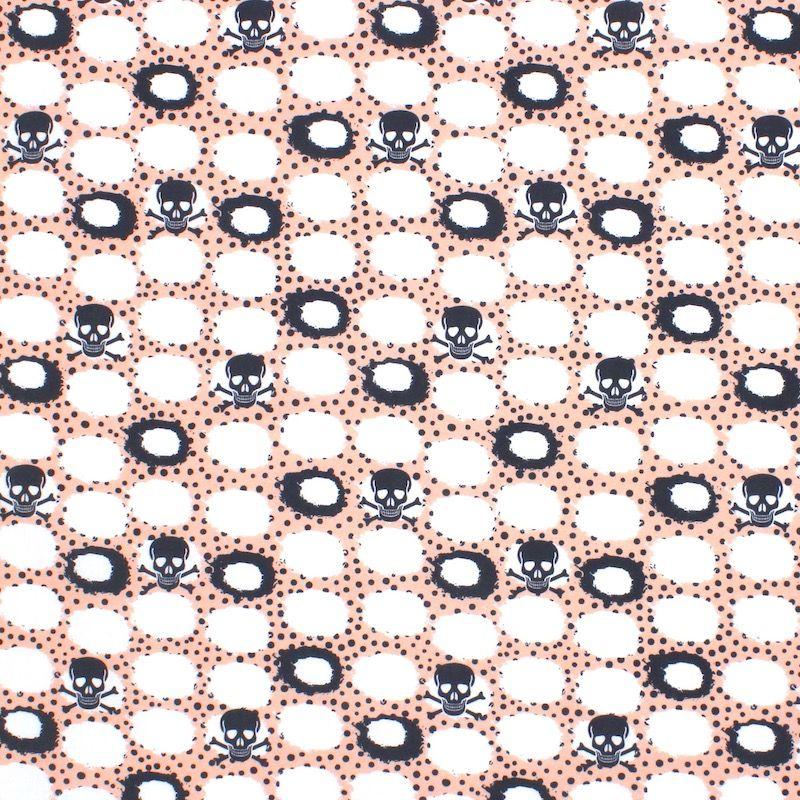 Cotton with black skulls - white/pink