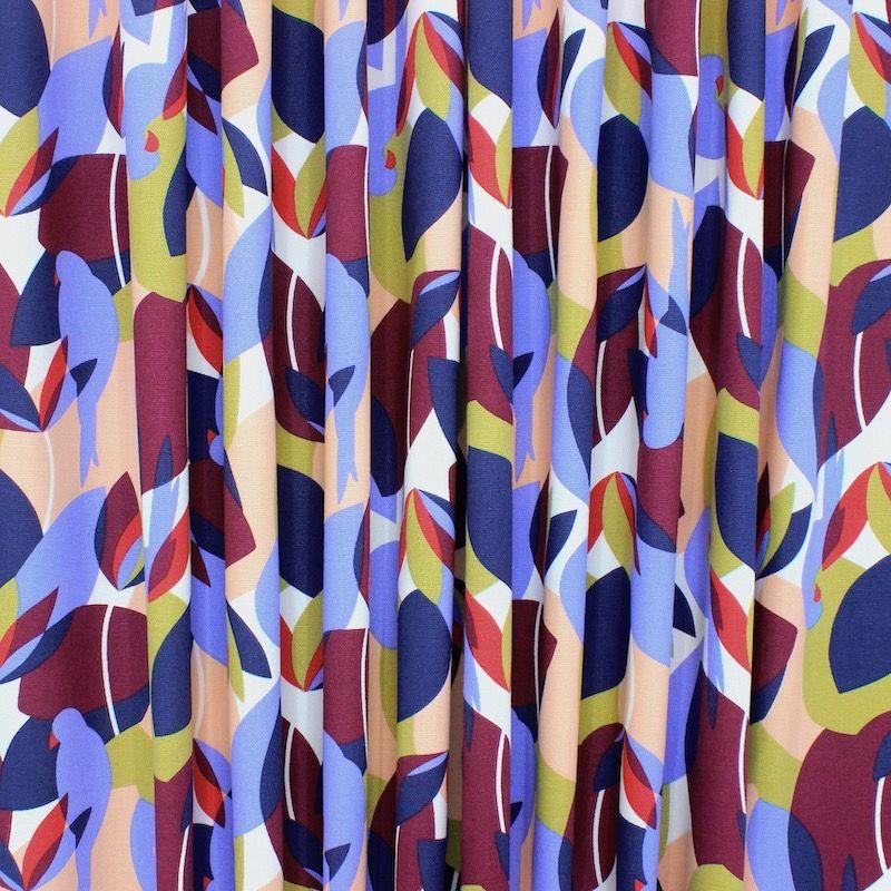 Tissu ameublement coton floral - multicolore