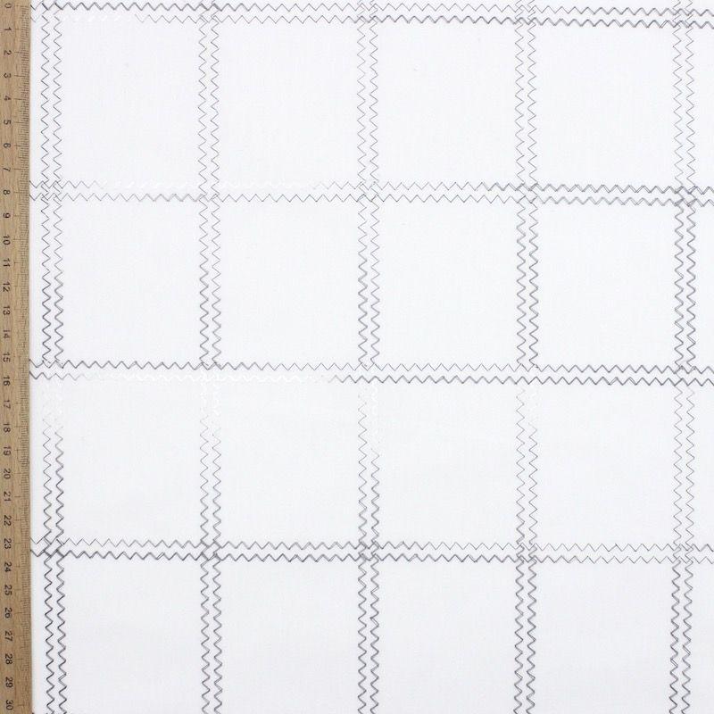 Geborduurde katoen - wit/grijs
