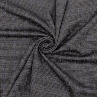 Jersey jacquard carreaux - anthracite /bleu