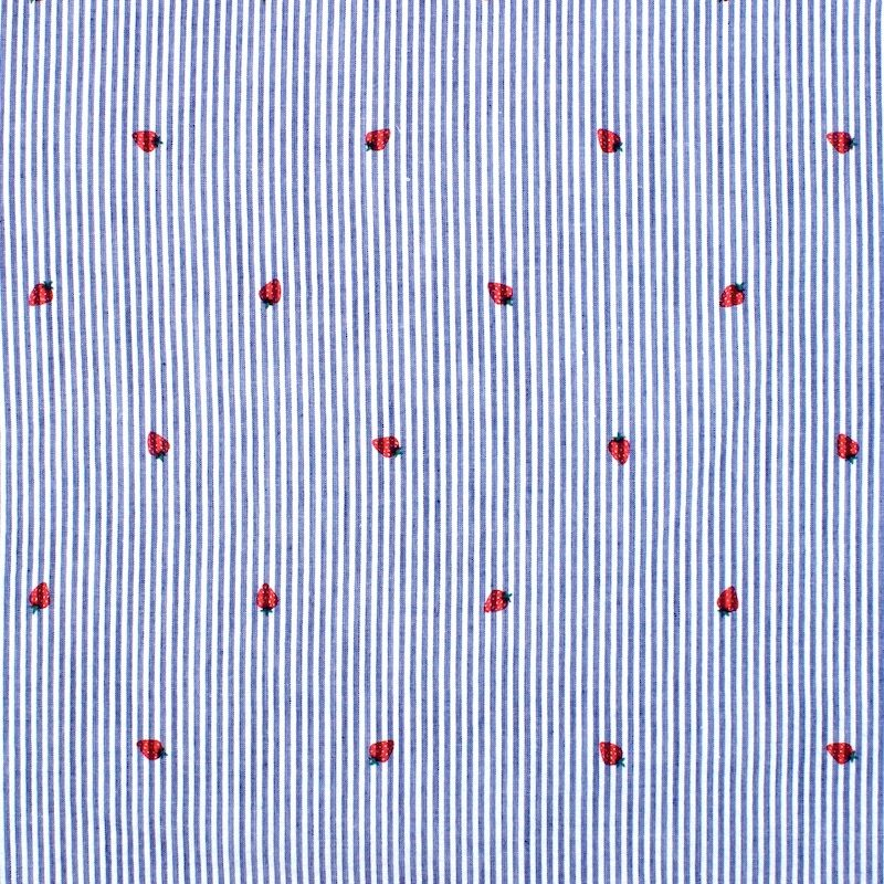 Striped Seersucker fabric with strawberries - blue & white