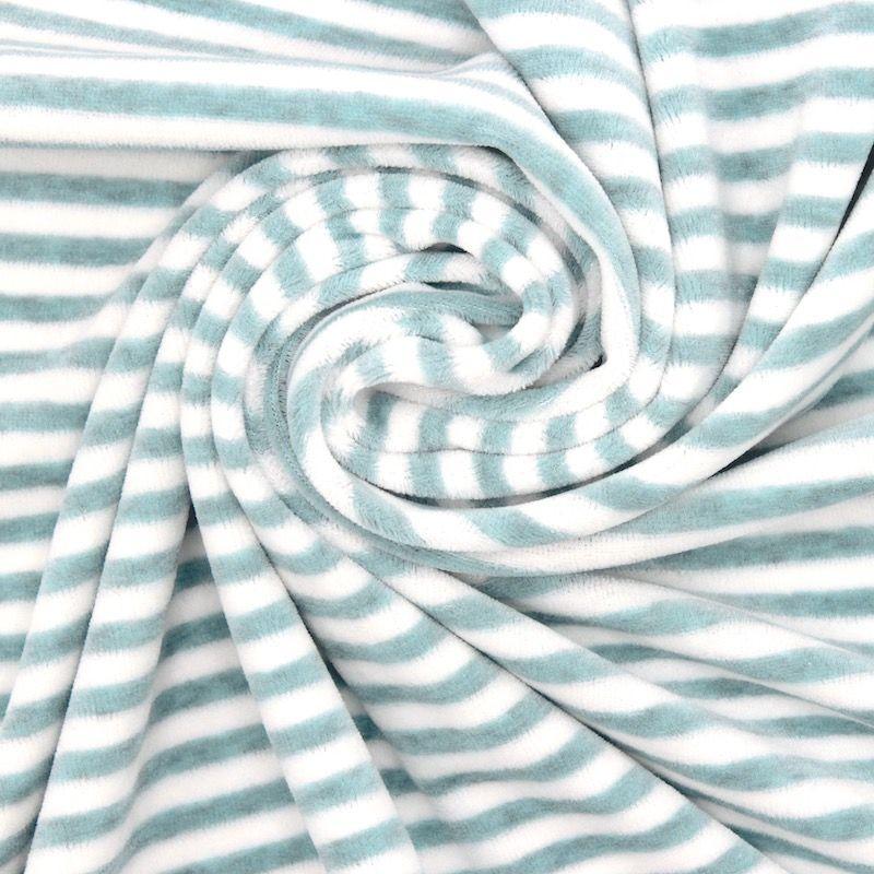 Tissu Nicki velours rayé turquoise chiné