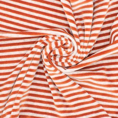 Tissu Nicki velours rayé rouille