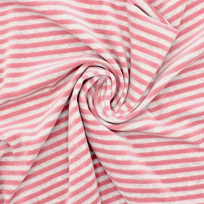 Tissu Nicki velours rayé rose