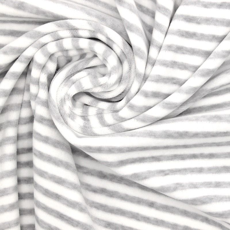 Tissu Nicki velours rayé gris chiné
