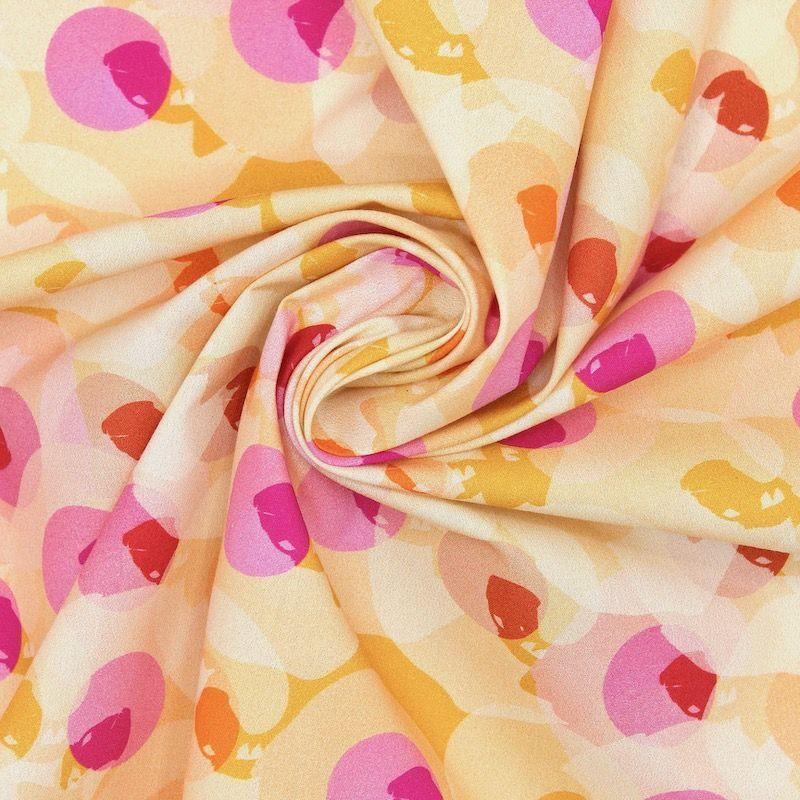 Popeline coton motif  - moutarde et rose