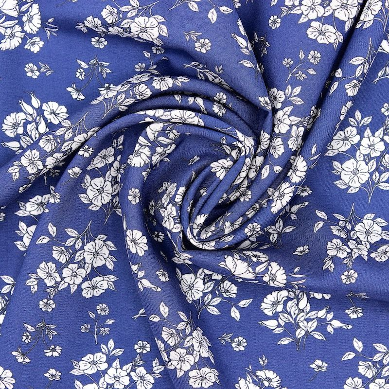 Viscose fabric with flowers - blue