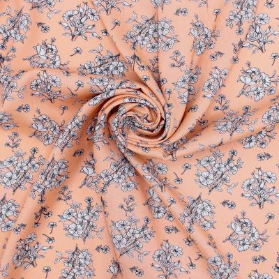 Tissu viscose fleurs - saumon