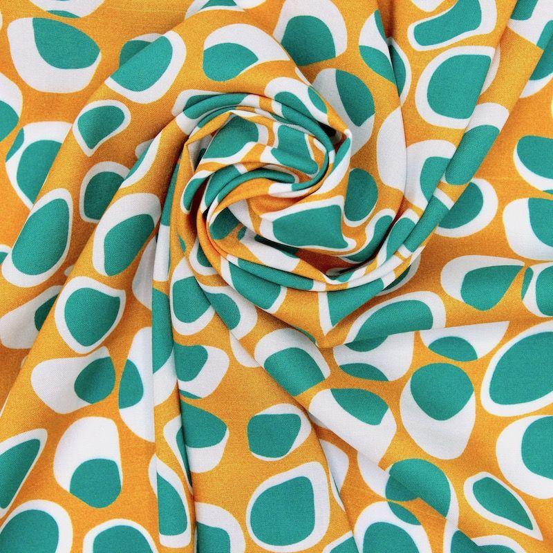 Viscose fabric with geometrics - mustard yellow / teal