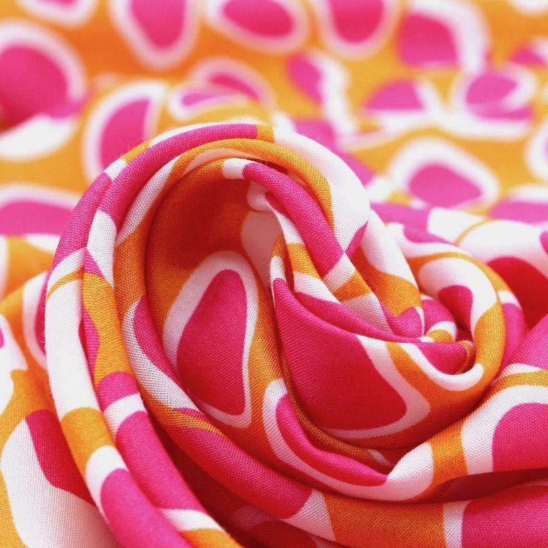 Viscose fabric with geometric - mustard yellow / fuchsia