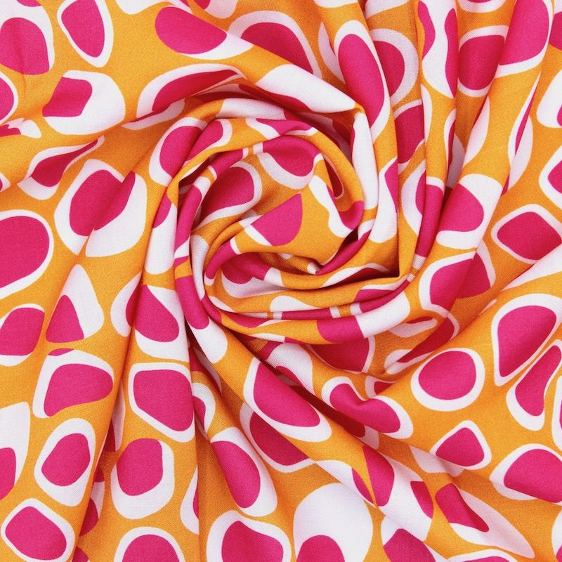 Tissu viscose géométrique - moutarde/fuchsia