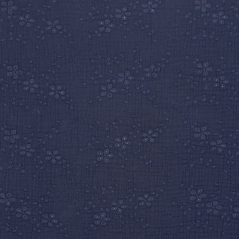 Embroidered double gauze - navy blue