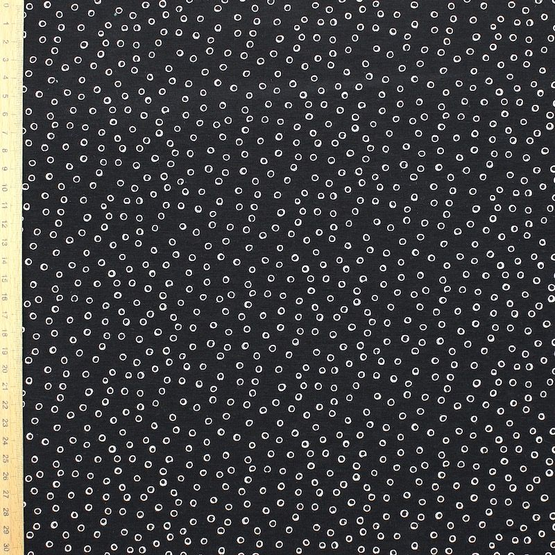 Jersey fabric with bubbles - black