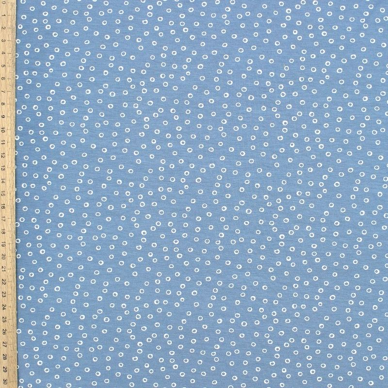 Jersey fabric with bubbles - blue