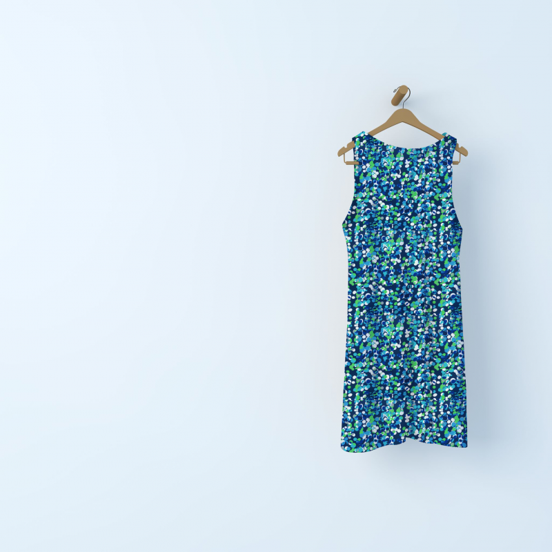 Polyester fabric with pattern - blue / green